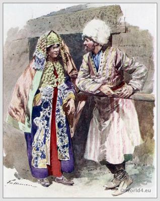 Traditional Russian costumes. Russia folk dress. Ethnic Tartars clothing.