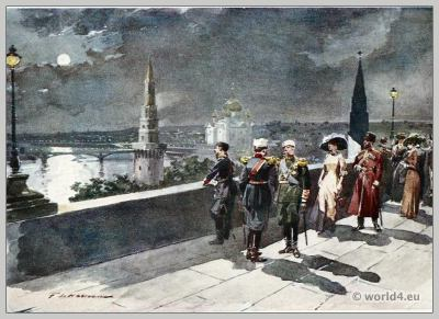 Traditional Russian costumes. Russia Court dress. Nobility clothing. Kremlin Moscow