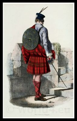 Clan Gillinhreac, Mac Gillivray. Traditional Scottish National Costume.The Clans of the Scottish Highlands. Scottish kilts, tartans.
