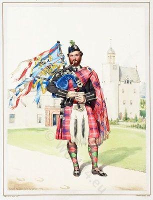 Scottish Piper William Macdonald. The Highlanders of Scotland. Traditional Scottish National Costume.