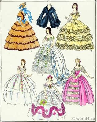 Second Empire Gowns.Victorian Fashion History. 19th century fashion. Crinoline costumes.