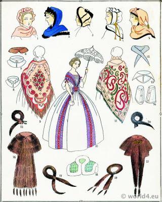 Second Empire Caps and Hoods. Victorian Fashion History. 19th century fashion. Crinoline. Second Rococo costumes.