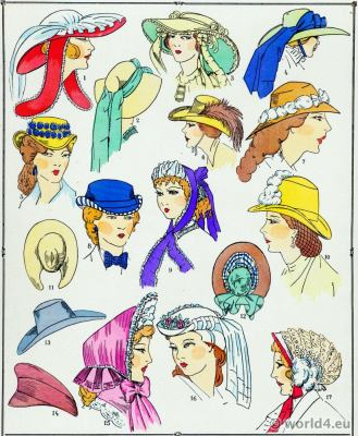 Second Empire hats. Victorian Fashion History. 19th century fashion. Crinoline. Second Rococo costumes.