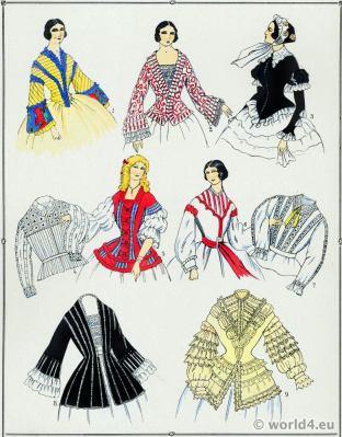 Victorian Era Corsages Fashion. Second Empire Bodices. 19th Century Costumes.