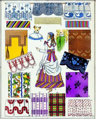Second Empire fabrics. Victorian Fashion History. 19th century fashion. Embroidery. Second Rococo costumes.