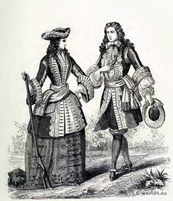 Louis XIV. Costumes. 17th century fashion. Baroque Clothing. Farthingale