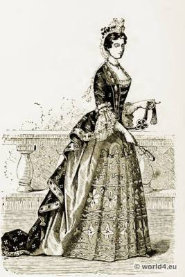 Louis XIV. Costumes. French 17th century fashion. Baroque Clothing. Farthingale Court dress.