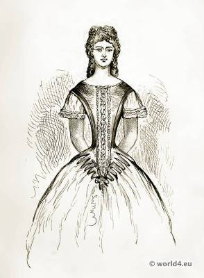 Victorian Crinoline Costume. Corset and stomacher. Farthingale.