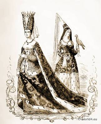 14th century costumes. Burgundy court dress fashion. Hennin. Medieval dresses, Gothic gowns.