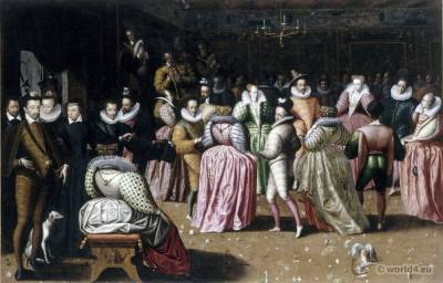 Court of Henri III. de Valois. French 16th century costumes. Baroque fashion.