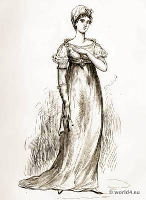 Lady of Fashion, 1806. French empire costume. France regency fashion.