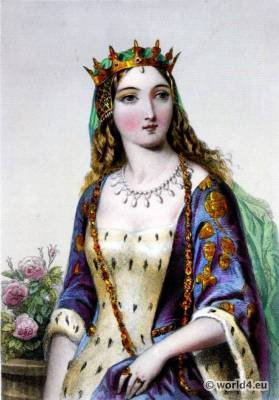 Margaret of Anjou. Queen consort of England. 15th century costume. Medieval fashion