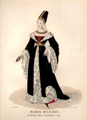 French Queen Marie d'Anjou. Medieval fashion. 15th century costume. Burgundy court dress. Hennin