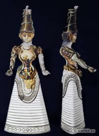 Knossos Minoan costume. Ancient Greek clothing. Antique Greece statue. Matriarchy