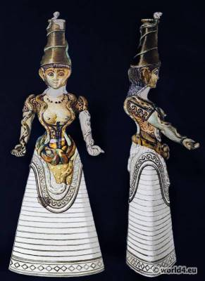 Snake Goddess. Ancient Minoan Matriarchy Female Costume. Antique Greek statue