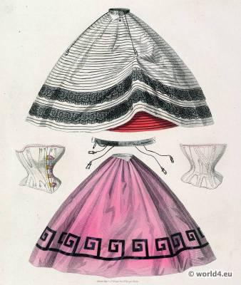 Petticoats, corsets and skirt fashion. Victorian Crinoline. Les Modes Parisiennes