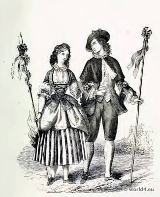 French Rococo Costumes after Watteau Farthingale and Crinoline.