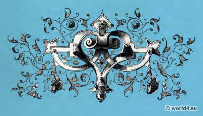 Medieval Tattoo design. The corset and the crinoline.