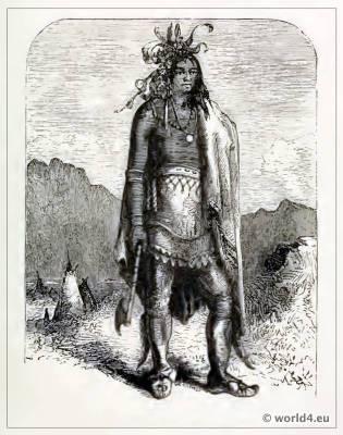 The Indian hunting-belt. American Native Costume and dress.