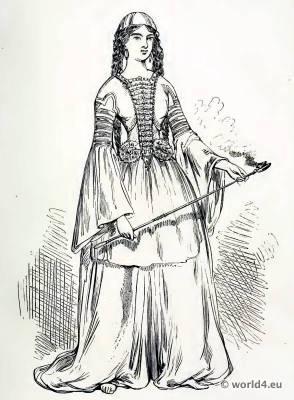 Medieval Circassian costume. The Corset and the Crinoline.