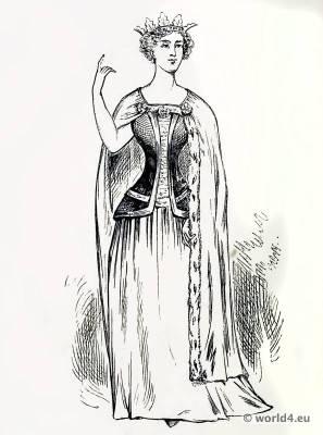 The Princess Blanche of Lancaster. The corset and the crinoline. Tudor costume.