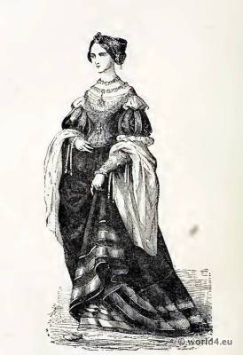 16th century costume. Renaissance fashion. French court dress