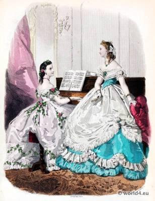 French second empire fashion. Victorian crinoline costumes. La Mode Illustrée. 19th century dress.