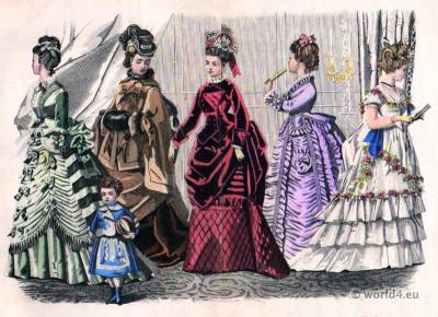 Godey's Fashions November, 1874. Victorian costumes. Crinolines. 19th century fashion.