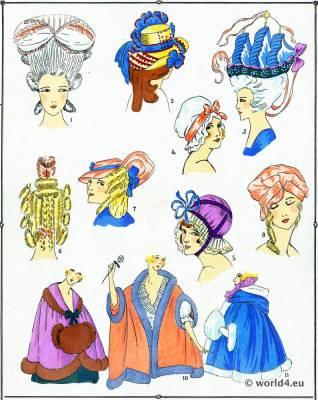 Coiffes, Capuchons. La mode Louis XVI. Costumes de rococo. 18 vêtements de siècle.