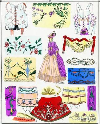 Rococo Embroidery. Louis XVI. Marie Antoinette fashion.