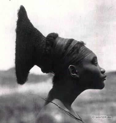 Traditional African hairstyle. Africa Zaire Tribal costume. Hugo Bernatzik. Mangbetu Central Africa