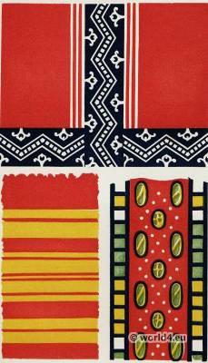 Ancient Egypt costumes. Egyptian Fabrics. Textile pattern
