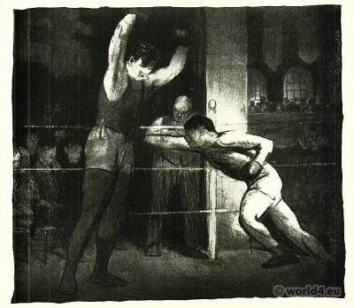 Training Quarters, 1916. Boxing costumes. George Bellows. American Artist. 1920s Costumes