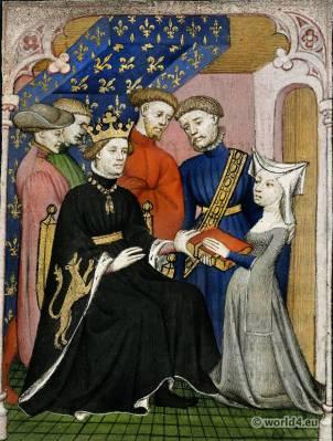 Christine de Pizan. Charles VI. Renaissance costumes. Burgundy fashion. Hennin. Middle Ages nobility clothing