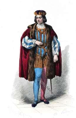 Moyen Age costume. Comte Cour de Louis XII. Mode de 15ème siècle. Costumes actuels. Musée cosmopolite