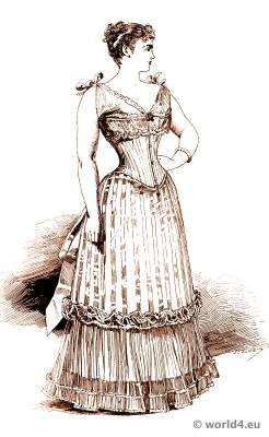 Corset bodice fashion. 19th century bodice and underwear. Belle Époque fashion period.