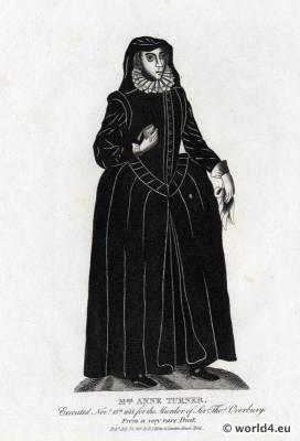 17th century clothing. Edwardian widow costume. Mrs. Anne Turner. England Tudor mourning clothing