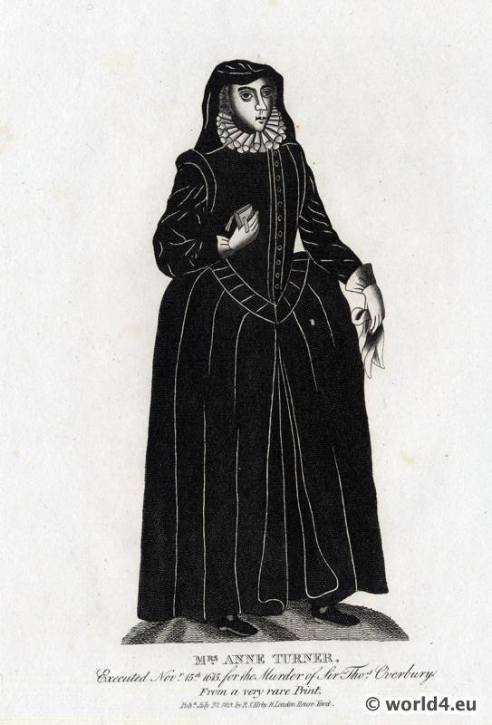 17th century clothing. Edwardian widow costume. Mrs. Anne Turner. Baroque period clothing