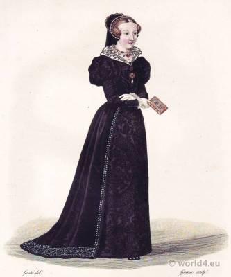 Françoise de Foix, Comtesse de Laval Châteaubriant. Mistress of French King Francis I. Renaissance Costume, Adornment.