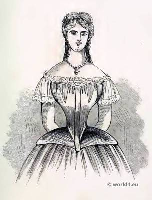Corset of Messrs. De La Garde, Paris. Corsets and Crinoline. Victorian Fashion. Nineteenth-century Costume and Fashion