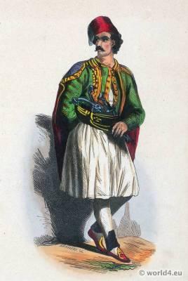 Fustanella, Greece. Traditional Greek national costume. Greece Folk clothing. Ethnic dress.