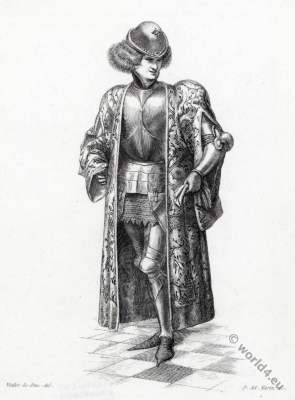 Houppelande. Greatcoat. Lord. 14th century fashion.