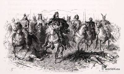 Carolingian, costumes, military, soldier, Charlemagne, Charles the Great, Middle Ages Clothing. Warrior,Alphonse de Neuville,