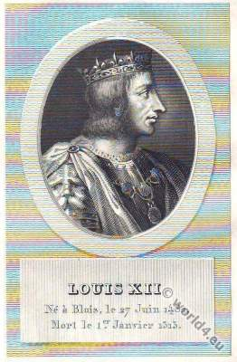 Louis XII. King of France. 15th century fashion. Middle ages costumes