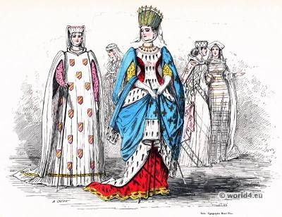 Margaret of Provence. Modes and fashion during the middle ages. 13th century fashion. Gothic costumes.