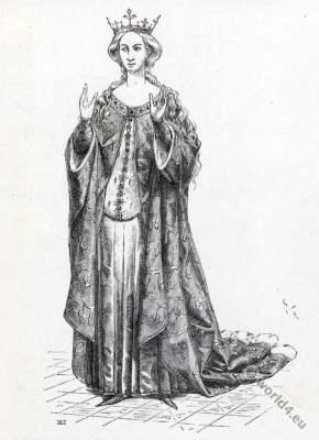 Marguerite d'Écosse. Houppelande. Margaret Stewart. 15th century fashion.