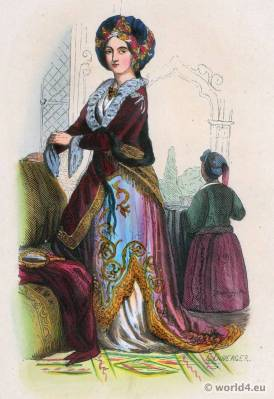 Nobel woman from Turkey, Ottoman Empire costume.