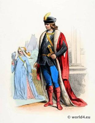 Renaissance fashion. Baron, Baroness costumes.15th century fashion.