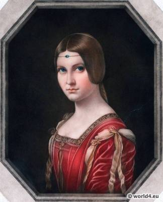La Belle Ferroniere by school of Leonardo da Vinci 1495 to 1499. Renaissance costumes and hairdress. 16th century clothing