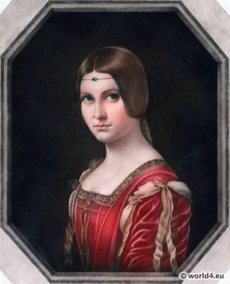 La Belle Ferroniere, Leonardo da Vinci, Renaissance, fashion, hairdress,16th century, costumes